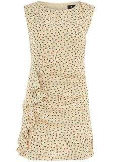 A short, tight dress I would actually wear. The color, small polka dots, high neckline, and side ruffle add class!
