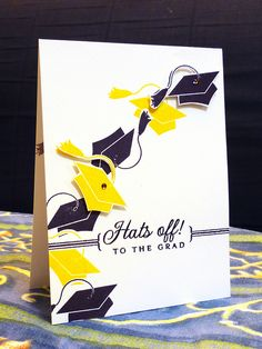 Celebrate your graduation by tossing your cap in the air! A simple graduation cap stamp turns into a fling when you cut out 2 caps and pop them up on this handmade graduation card. Graduation Cards Handmade, Graduation Diy, Graduation Celebration, Graduation Scrapbook, Graduation Invitations, Scrapbook Cards, Scrapbooking, Card Tags, Card Kit