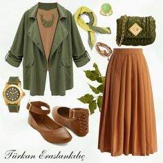 Green and Taba Harmony in the winter months between your Redeemer colors :) … - Outfit Fashion Modest Dresses, Modest Outfits, Cute Outfits, Womens Fashion Online, Latest Fashion For Women, Hijab Mode, Hijab Fashion, Fashion Outfits, Moslem Fashion