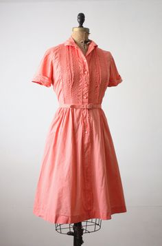 1950s coral lace dress