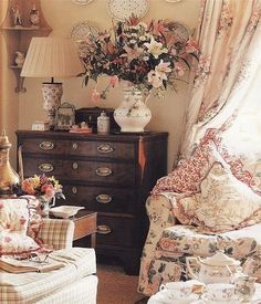 English Country Cottage Decor | English Country Style. Dressers in the living room, very English.
