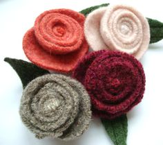 Rose Pin Felted Wool Brooch SHELL PINK/ Blush Pink by WormeWoole, $12.00
