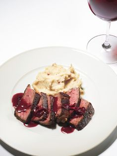 Pan-Seared Strip Steak with Red-Wine Pan Sauce and Pink-Peppercorn Butter