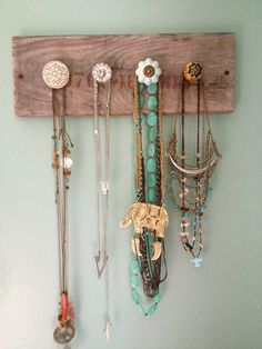 Necklace hanger! Repurposed wood with knobs from pier 1