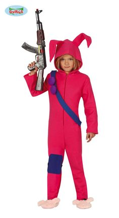 Childrens Bunny Soldier Costume includes a pink jumpsuit with attached hood,ears,shoulder belt and knee pad. Costumes For Teens, Girl Costumes, Superhero Fancy Dress, Soldier Costume, Video Game Costumes, World Book Day Costumes, Bunny Suit, Bunny Costume, Battle Royale