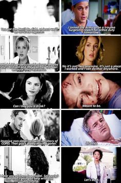 """""""First and last lines from: George O'Malley, Izzie Stevens, Lexie Grey, Mark Sloan, and Christina Yang. Grey Quotes, Grey Anatomy Quotes, Greys Anatomy Memes, Greys Anatomy George, Grey's Anatomy Mark, Anatomy Humor, Lexie And Mark, Izzie Stevens, Mark Sloan"""