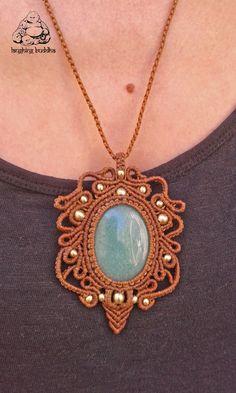 Aventurine macrame necklace handmade necklace by byLaughingBuddha