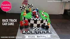 race track car birthday cake for kids design ideas decorating tutorial classes courses video at home Easy Kids Birthday Cakes, Simple Birthday Cake Designs, Cake Designs For Boy, Cartoon Birthday Cake, Friends Birthday Cake, Animal Birthday Cakes, Simple Cake Designs, Frozen Birthday Cake, Car Birthday