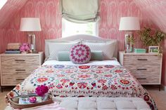 Pink paisley wallpaper bedroom, angled ceiling, attic room, jamie meares, mixed patterns, ticking stripe roman shade