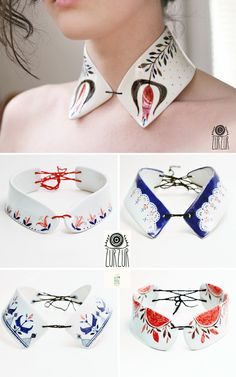 Handmade porcelain jewellery from Rumania. http://www.imaginativebloom.com/2012/06/05/the-awesome-project-handmade-porcelain-collection-from-romania/
