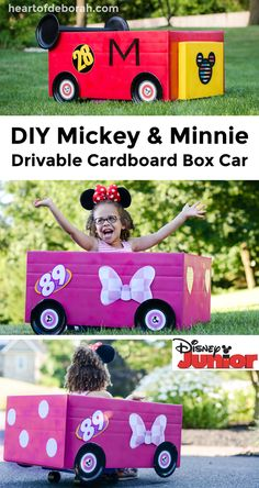 Your kids will love to drive around in their own DIY Mickey Mouse Roadster Racer! Make your own cardboard box car racer inspired by Disney Junior!