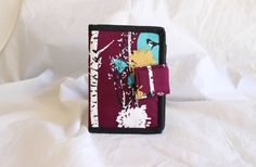Bifold Billfold Wallet Purse with zipper pocket by Tracey Lipman in indelible Stamped Grove in Nightfall purple bird and forest print