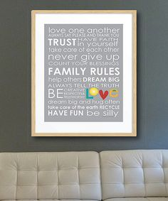 Loving this Gray 'Family Rules' Print on #zulily! #zulilyfinds