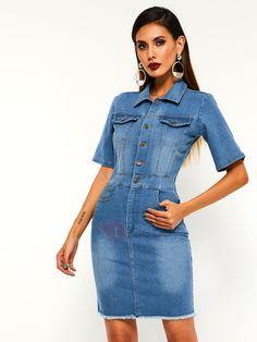 Lapel Button Denim Plain Womens Bodycon Dress Tie Dye, Bodycon Dress, Denim, Casual, Dresses, Button, Women, Style, Fashion