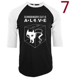 tee shirt homme three-quarter sleeve raglan brand clothing 2017 funny novelty Schrodinger's Cat T-shirts Mens camisetas