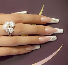 beautiful french manicure - bling - wedding - nail art
