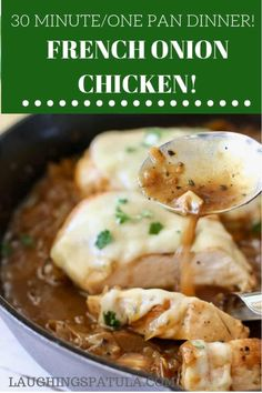 This French Onion Chicken one pan meal is complete in about 30 minutes with a flavor reminiscent of French Onion Soup! Ree Drummond, Paula Deen, Cookbook Recipes, Cooking Recipes, Top Recipes, Sweets Recipes, Turkey Recipes, Yummy Recipes, Recipies