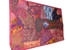Vintage Pink Sari Tapestry Traditional Indian Wall Hanging Throw Art 60 X 40 Inches by Mogul Interior, http://www.amazon.com/dp/B00B5RD3N8/ref=cm_sw_r_pi_dp_ZAscrb1RVA6WE