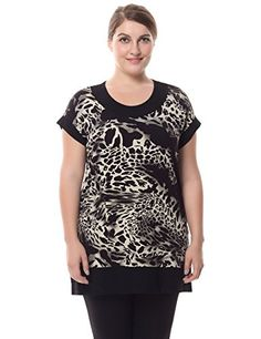 Chicwe Womens Plus Size Short Sleeves Leopard Print Tunic with Contrast Neck Cuff 26 Black ** Details can be found by clicking on the image. Maternity Swimwear, Maternity Wear, Women's Plus Size Shorts, Plus Size Tops, Types Of Sleeves, Short Sleeves, Wardrobe Solutions, Stylish Tops, Easy Wear