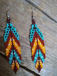 Feather seed bead earrings,Native American style beaded earrings, Dangling Earrings,Boho seed bead Earrings,Beadwork earrings – Welcome Bead Embroidery Patterns, Seed Bead Patterns, Beaded Embroidery, Beading Patterns, Color Patterns, Art Patterns, Mosaic Patterns, Beaded Earrings Native, Beaded Necklace Patterns