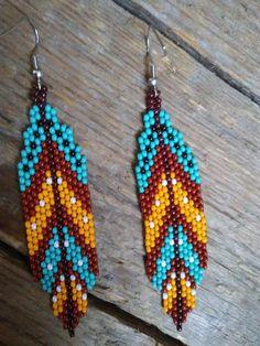 Feather seed bead earrings,Native American style beaded earrings, Dangling Earrings,Boho seed bead Earrings,Beadwork earrings – Welcome Beaded Earrings Native, Beaded Necklace Patterns, Seed Bead Earrings, Jewelry Patterns, Beaded Jewelry, Hoop Earrings, Beaded Bead, Tribal Earrings, Jewelry Ideas