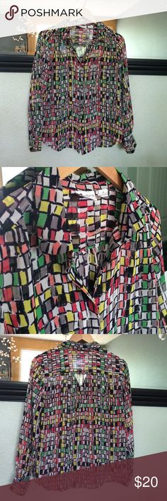 Liz Claiborne blouse Fun and bright multi colored Liz Claiborne blouse. Light weight and sheer, this loose fitting blouse is super comfy. Silver buttons on the sleeve and one at throat. Black buttons along front are black. Liz Claiborne Tops Blouses