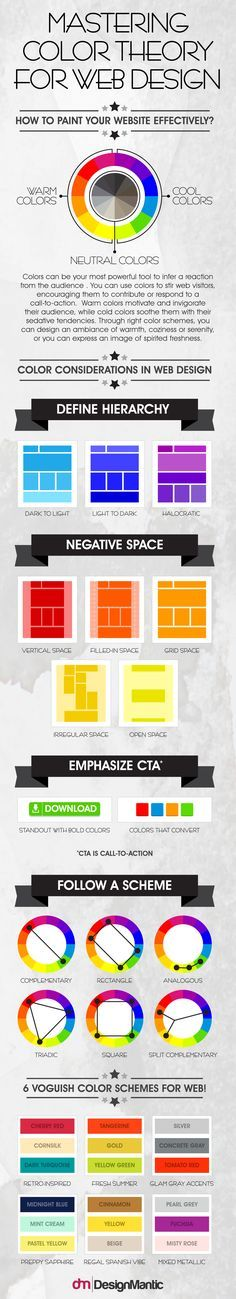 Mastering Color Theory For Web Design   http://www.designmantic.com/blog/infographics/color-theory-for-web-design/