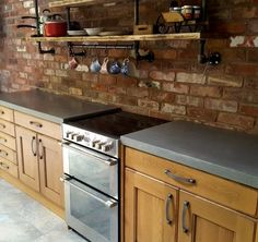 Rustic kitchen with polished concrete worktops Colorful Interior Design, Interior Colors, Colorful Interiors, Kitchen Worktops, Kitchen Tiles, Cupboards, Kitchen Cabinets, Polished Concrete, Work Tops