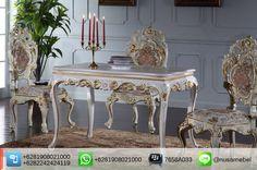 Rococo Dining Table-Chair White Gold Palermo. #MejaMakan Mahoni Ukir Rococo Finishing Putih-Emas. We send it worldwide. For more info please contact us via: BBM : 7658A033 Call WA : 6281908021000 Inquiry : info@nusamebel.com Website : nusamebel.com #NusaMebel #Mebel #Meuble #MebelJepara #FurnitureJepara #MebelRumah #DiningFurniture #ReproductionFurniture #MejaJepara #MejaJati #KursiJati #FurnitureDesign #FurnitureInterior #LouisTable #LouisChair #KursiMakan #DiningTable #KursiJepara…