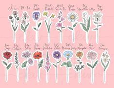 Meaningful Flower Tattoos, Birth Flower Tattoos, Birth Month Colors, Birth Month Flowers, Tattoo Fleur, Wildflower Tattoo, Background Drawing, Future Tattoos, Beautiful Artwork