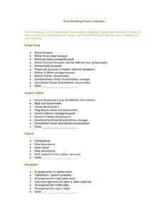 flower checklist for wedding