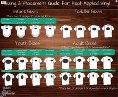 Heat Transfer Vinyl Design Sizing Charts T-shirt Onesies Polo shirts #htv #heatpress #vinyl #design #tshirt