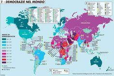 Una mappa illustra l'indice di democraticità degli Stati nel mondo