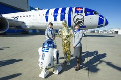 All Nippon Airways Rolls Out Star Wars R2-D2 Dreamliner Airplane to the Public