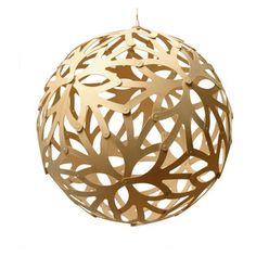 David Trubridge - David Trubridge Floral 600 Pendant Lamp, Natural - This elegant orb features flower shapes with sprouting stems and petals...
