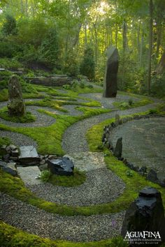 MEDITATIVE GARDEN, stone feature, albyrinth, from Daryl Toby Studio, Aguafina.com