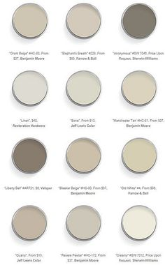 A great collection of warm neutral paint colors, from Domaine Home