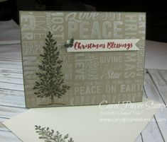 Stampin' Up!, Merry Medley, Lovely As a Tree, Christmas Pines, DIY Crafts, hand made Christmas cards, graphic cards, masking, http://www.stampinup.net/esuite/home/carolpayne/