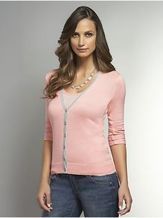 Tipped V-Neck Cardigan with Roll-Tab Sleeves
