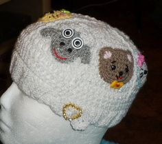 ANIMAL CAROUSEL HAT --measures 18 to 21 Circumference 7 High; knitted & crocheted; Kitty, Tiger, Monkey, Bear, Sheep, Mouse, All Season Hat