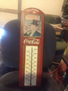Coca Cola Thermometer made of wood
