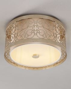"""Marseilles"" Ceiling Fixture  Handcrafted steel frame finished with a silver-leaf patina and a dusting of golden inlay surrounds the ivory l..."