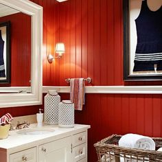 paneling painted red | am in love with the red panelling with the white chair rail! Very ...