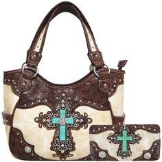 Western Rhinestone Cross Tooled Leather Totes Concealed Carry Purse Handbag Women Shoulder Bag Wallet Set * Check this awesome product by going to the link at the image. (This is an affiliate link)