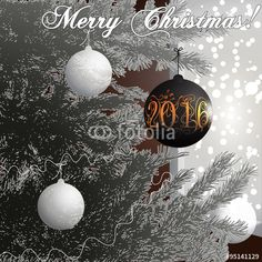 "Download the royalty-free vector ""2016 / New Year's greeting card with the inscription, Merry Christmas at the top and in 2016 in one of the decorations. There are also motifs Christmas tree in the room."" designed by LidijaM81 at the lowest price on Fotolia.com. Browse our cheap image bank online to find the perfect stock vector for your marketing projects!"