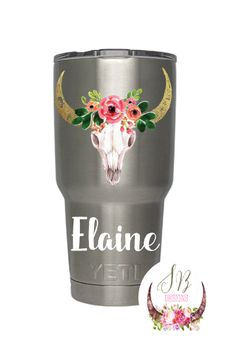 Floral Steer Skull Monogram Decal Shop Sophie Breanna Designs On - Custom vinyl decals etsy