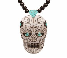 GoodWoodNYC - Day of the Dead Pendant Grey, $35.00 *Only available for 24hours. Sale ends June.7.2013 at 12pm* #woodchain #woodnecklace #woodennecklace #woodenchain #goodwoodnyc