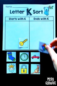 Letter K Sort Alphabet Worksheets that are so fun to practice sorting letters by their beginning sound or ending sound. Kids look at the picture and decide if it starts with K or ends with K. There are more letters too! Preschool Learning Activities, Alphabet Activities, Alphabet Worksheets, Fun Activities, Alphabet Songs, Learning The Alphabet, Words Ending In K, Letter K Crafts, Interactive Notebooks Kindergarten