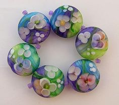 Handmade glass beads using watercolor technique