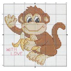 Baby Cross Stitch Patterns, Cross Stitch Baby, Cross Stitch Animals, Plastic Canvas Crafts, Plastic Canvas Patterns, Cross Stitching, Cross Stitch Embroidery, Monkey Crafts, Simple Cross Stitch